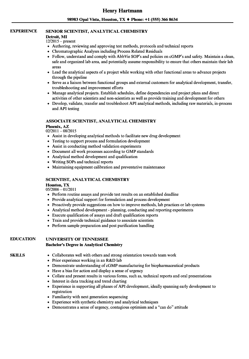 Download Scientist, Analytical Chemistry Resume Sample As Image File  Analytical Chemist Resume