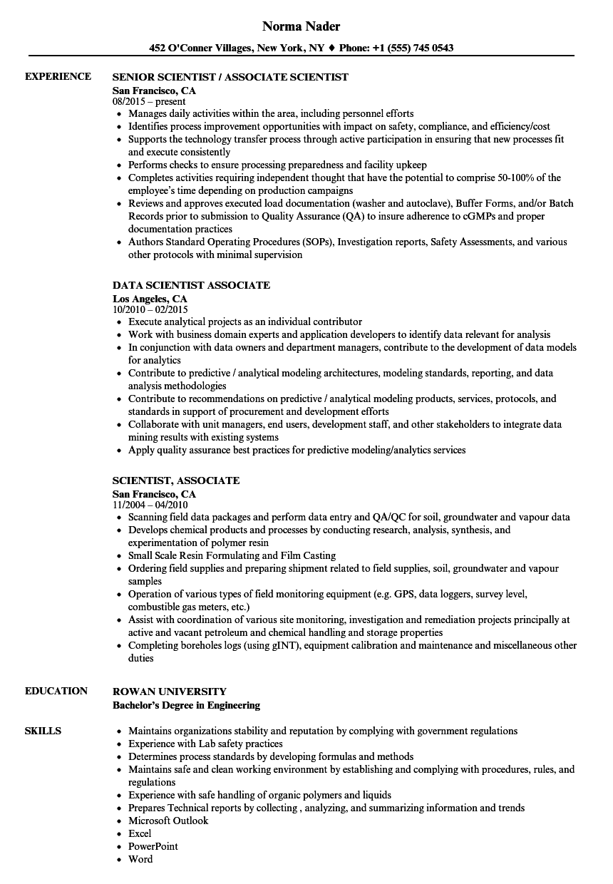 scientist  associate resume samples
