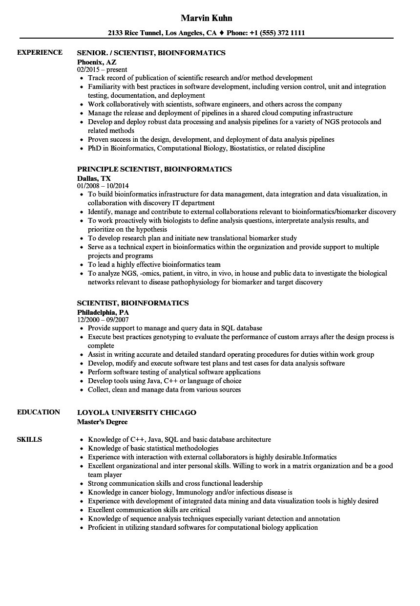 scientist-bioinformatics-resume-sample Objectives On Bioinformatics Scientist Resume on