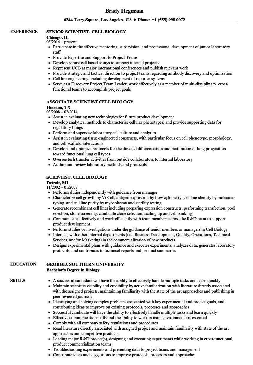 scientist  cell biology resume samples