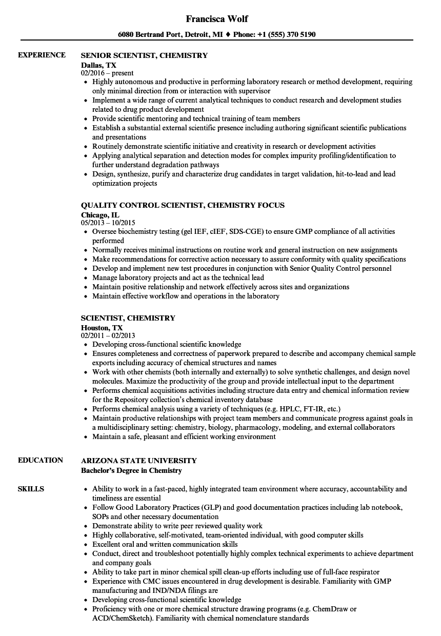 scientist  chemistry resume samples