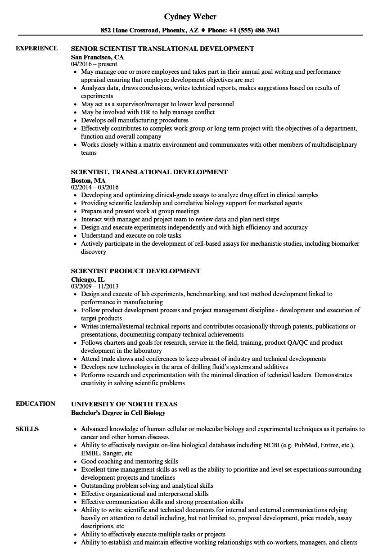 scientist  development resume samples
