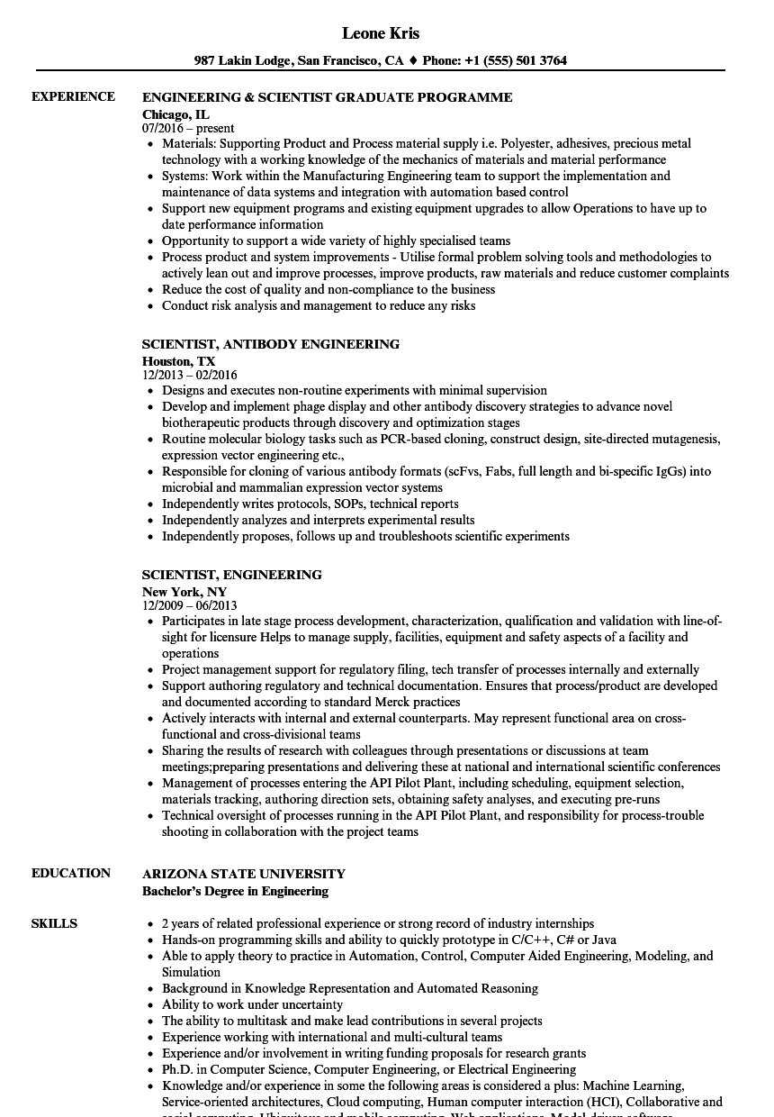 scientist  engineering resume samples