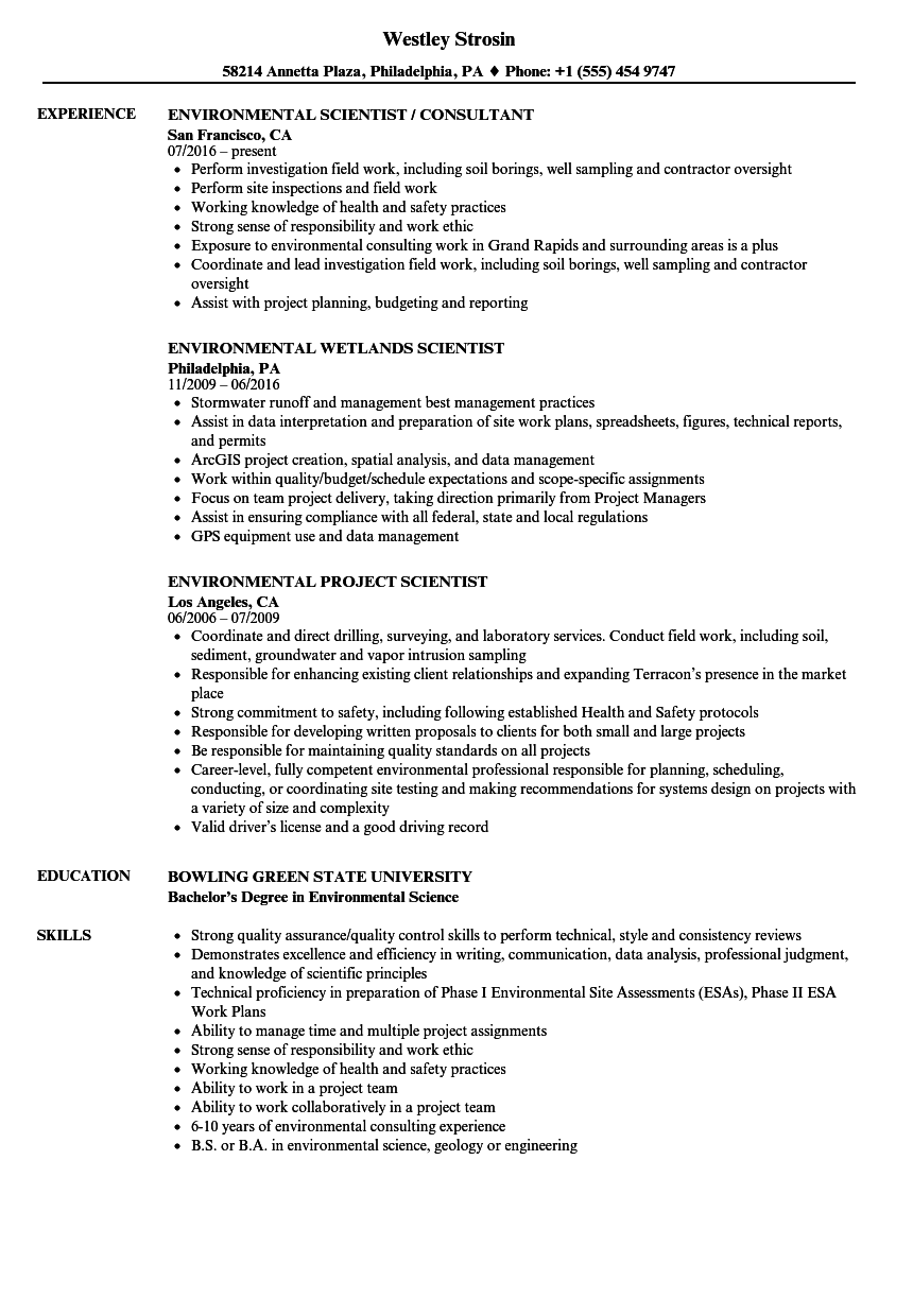 Scientist, Environmental Resume Samples | Velvet Jobs