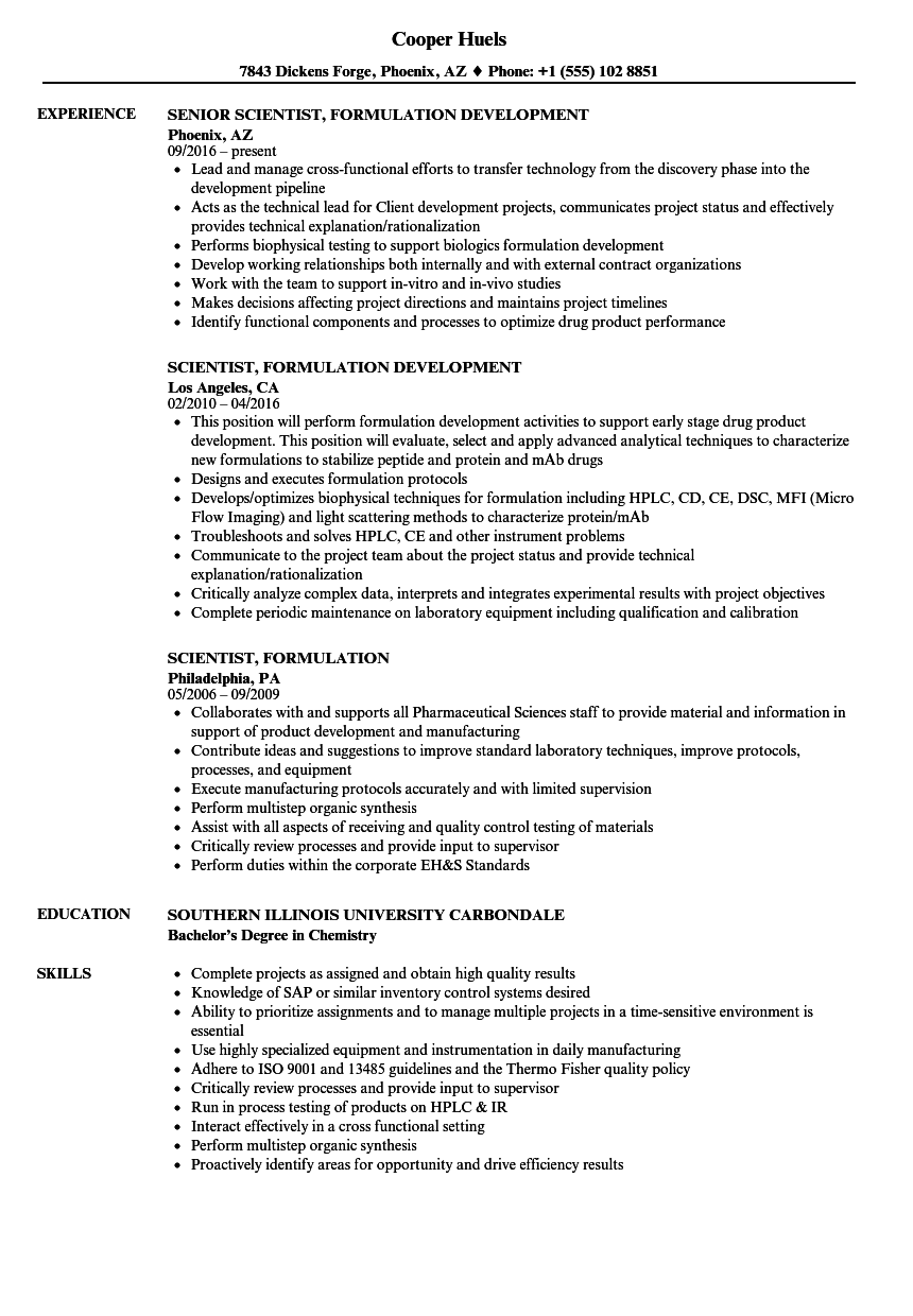 scientist  formulation resume samples