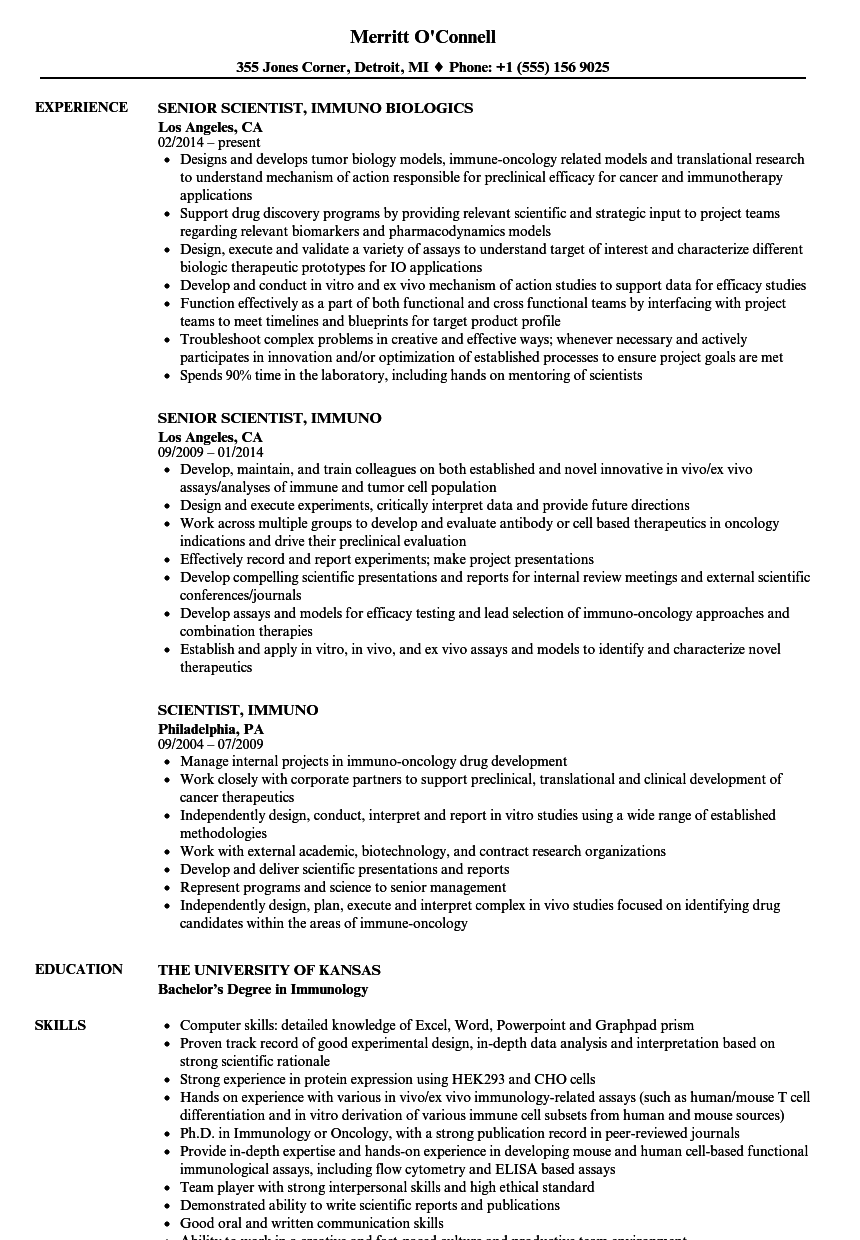download scientist immuno resume sample as image file - Scientific Resume Examples