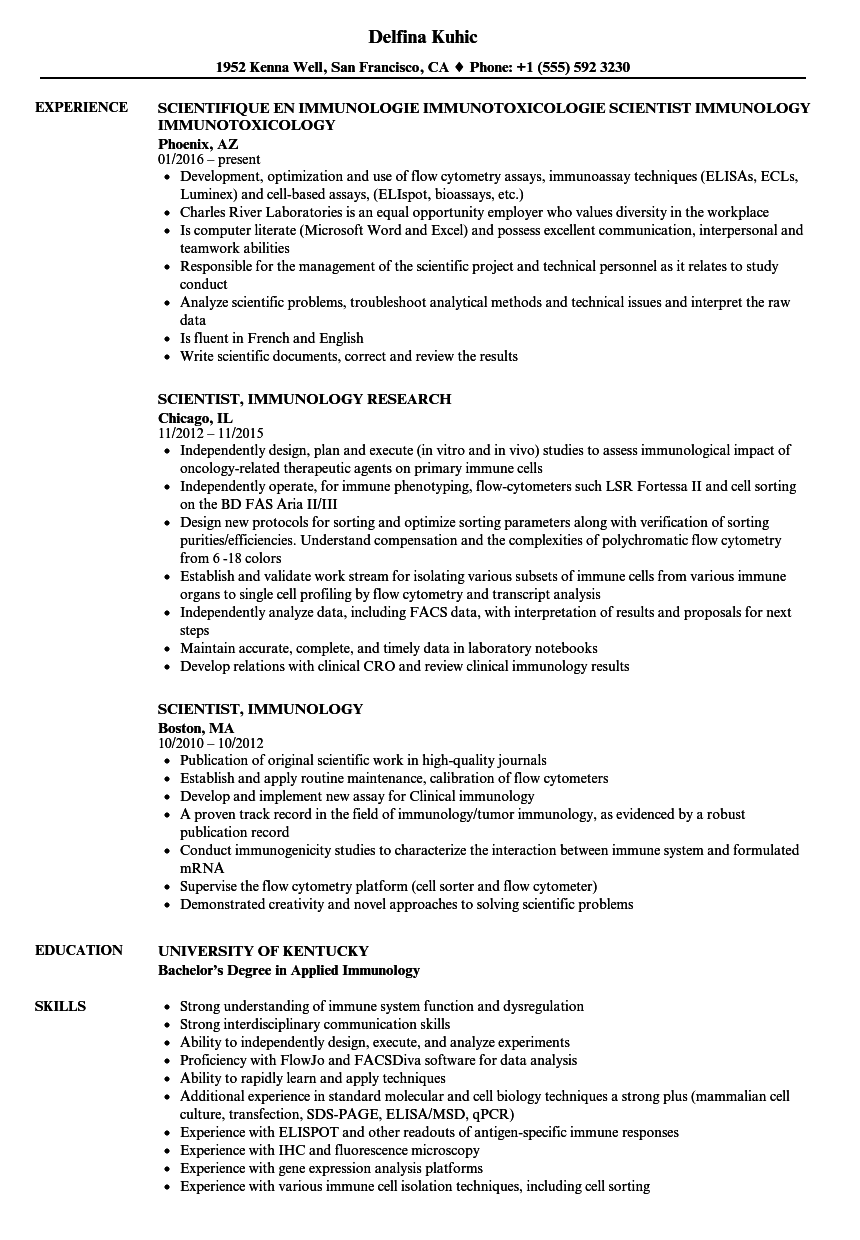 scientist  immunology resume samples