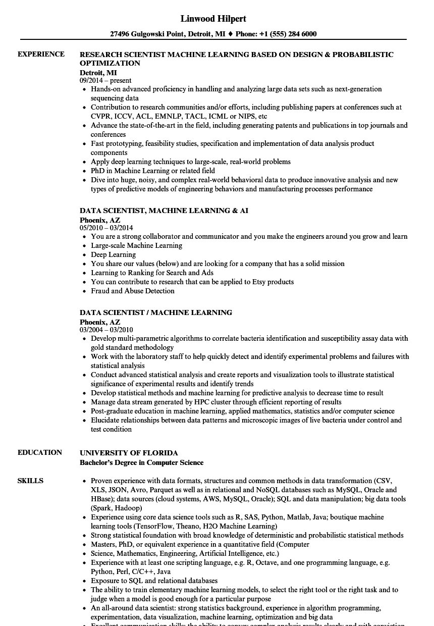 Scientist Machine Learning Resume Samples Velvet Jobs