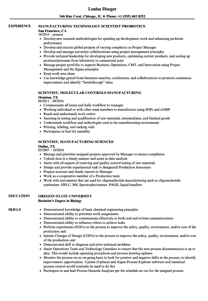 Download Scientist, Manufacturing Resume Sample As Image File  Resume For Manufacturing