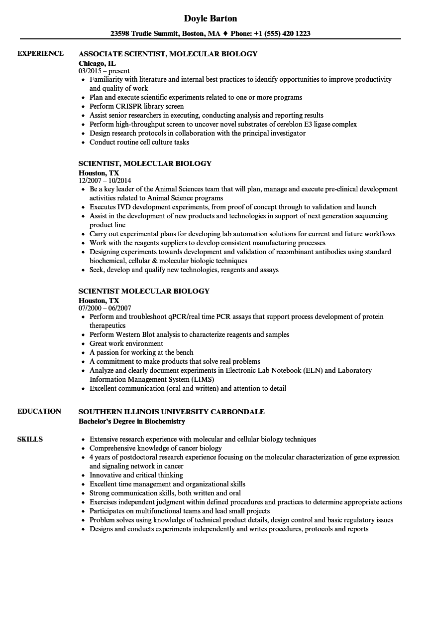 scientist  molecular biology resume samples