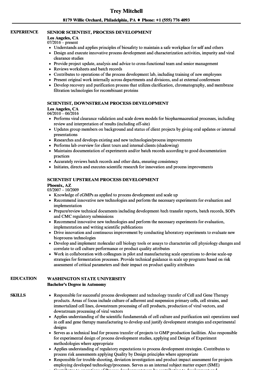 scientist  process development resume samples
