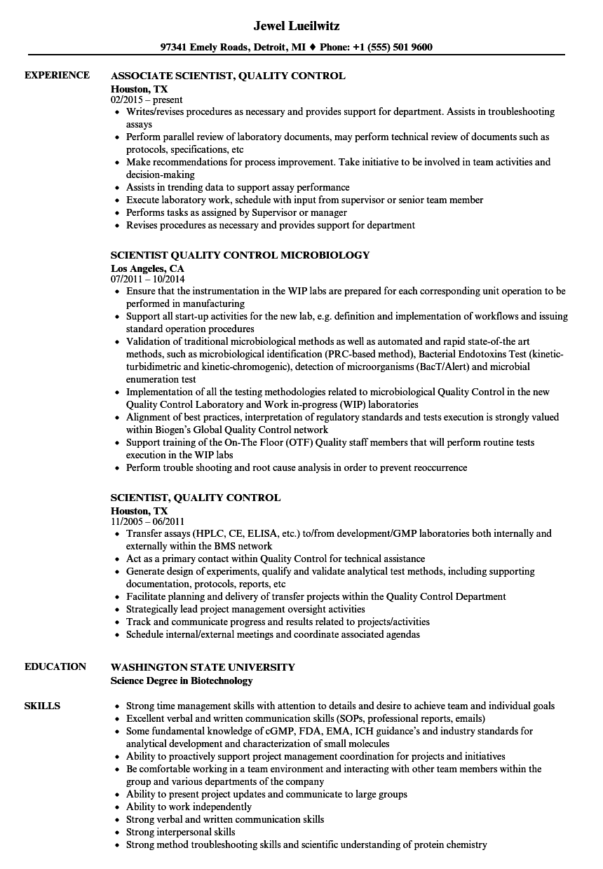 scientist  quality control resume samples