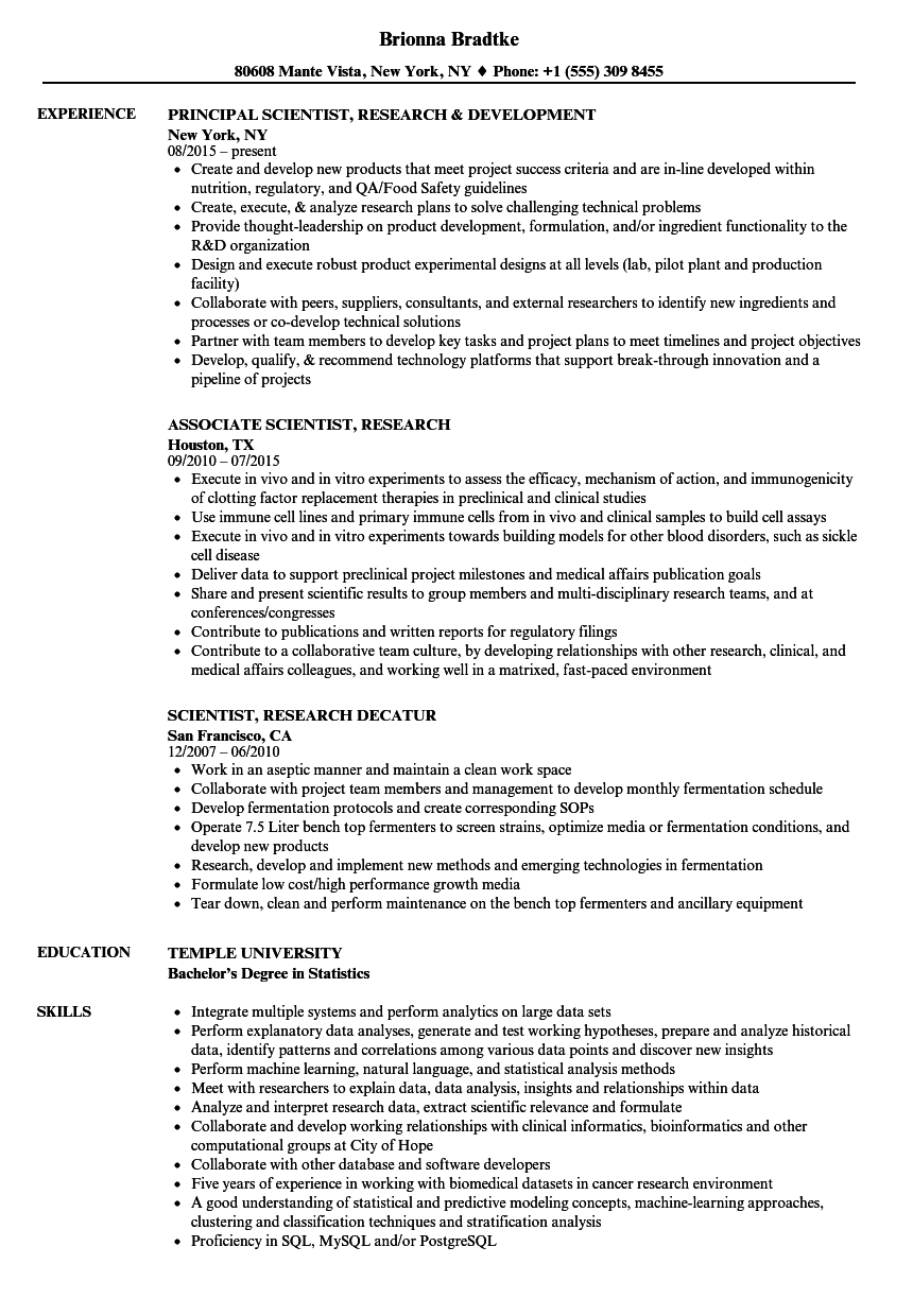 scientist  research resume samples