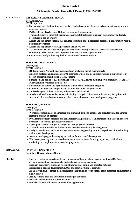 Scientist, Senior Resume Samples | Velvet Jobs