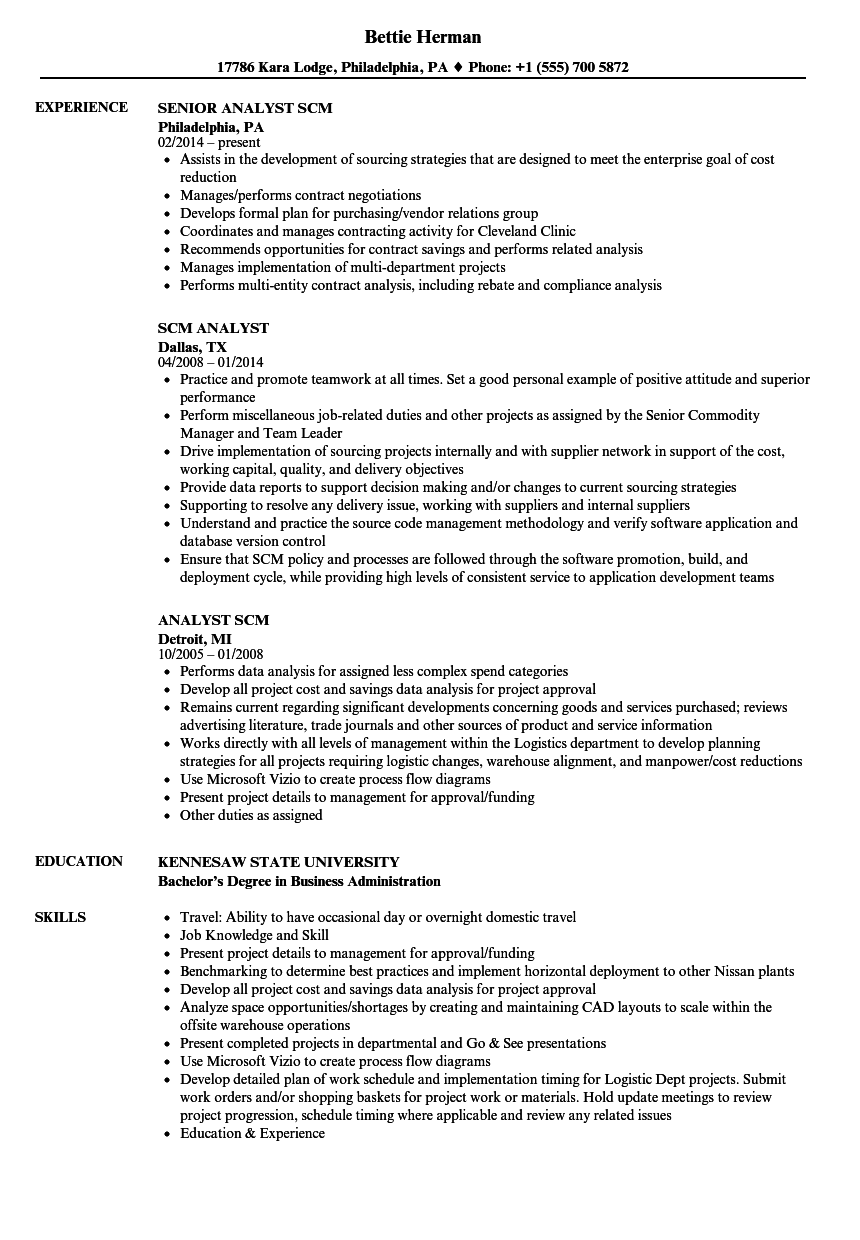 SCM Analyst Resume Samples | Velvet Jobs