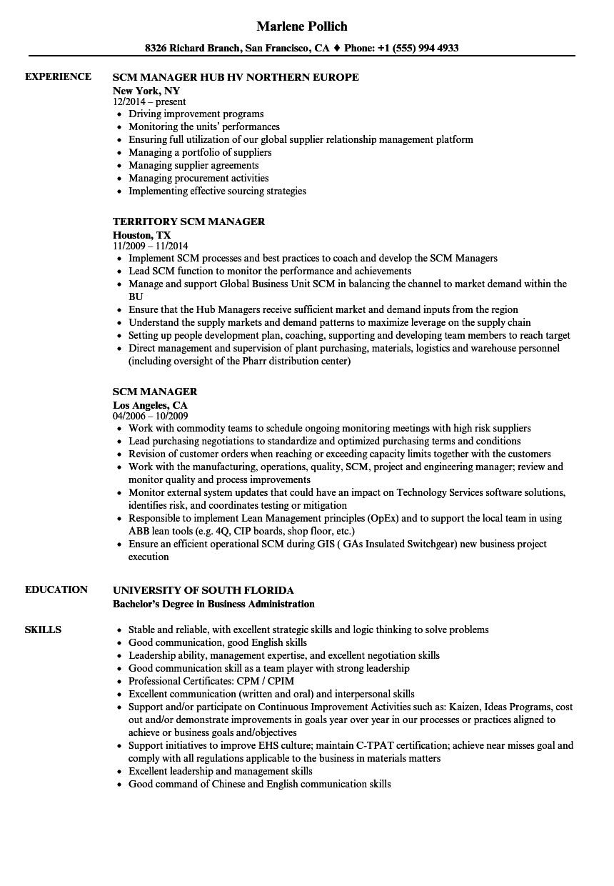 SCM Manager Resume Samples | Velvet Jobs