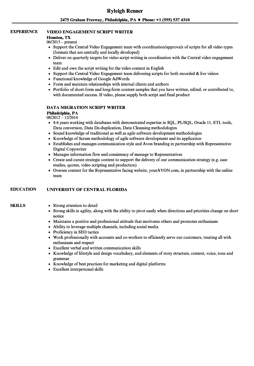 Script Writer Resume Samples | Velvet Jobs