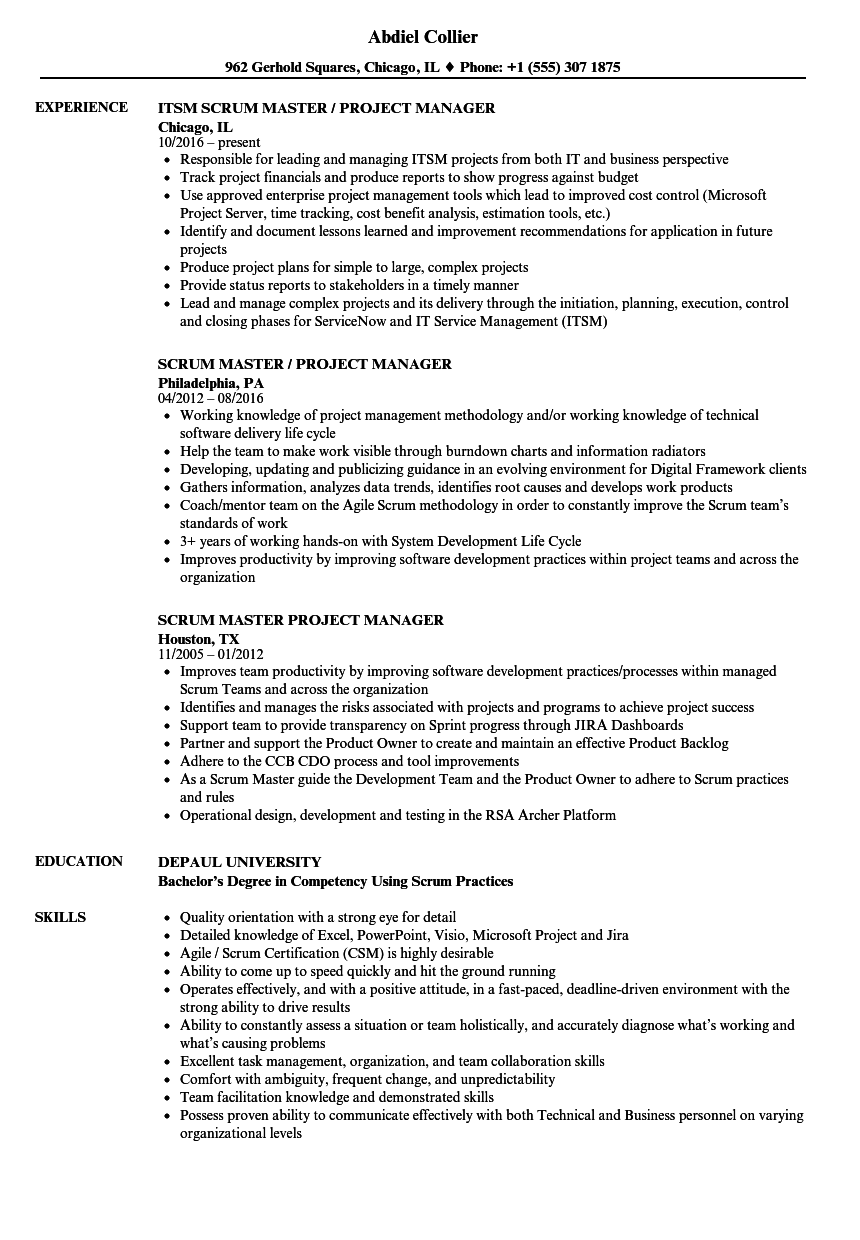 scrum master    project manager resume samples