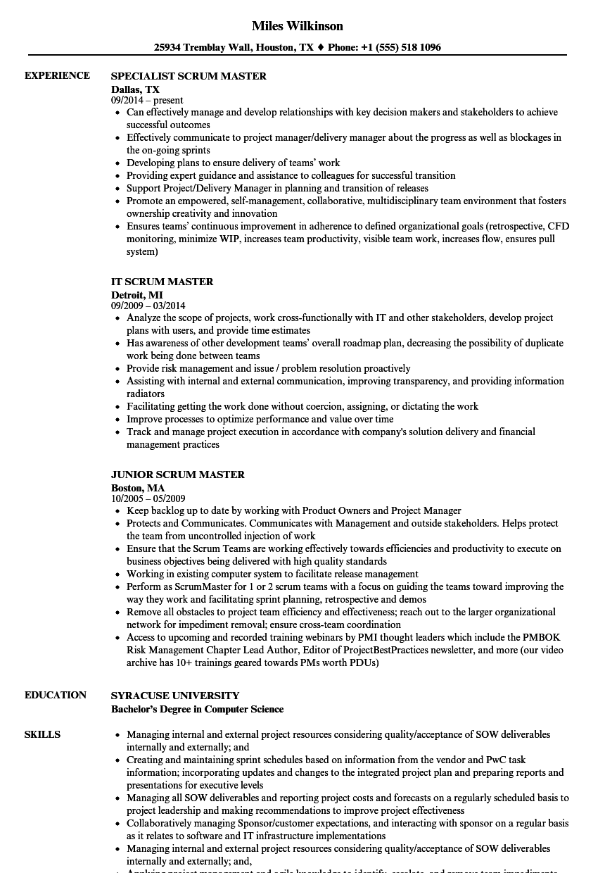 Scrum Resume Samples | Velvet Jobs