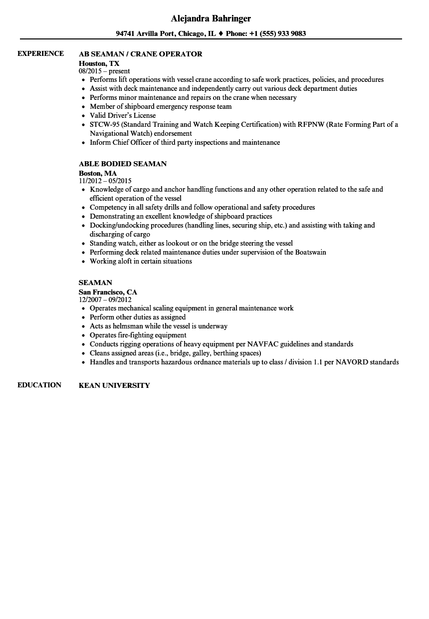 Seaman Resume Samples Velvet Jobs