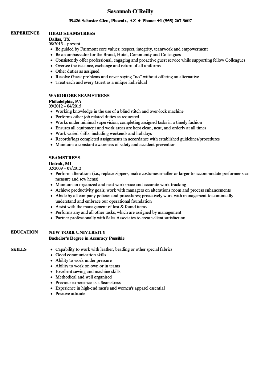 Download Seamstress Resume Sample As Image File
