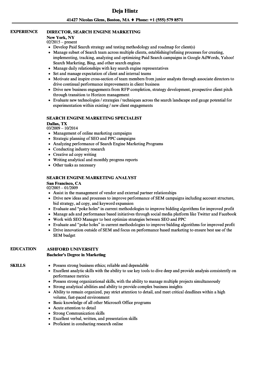 Search Engine Marketing Resume Samples | Velvet Jobs