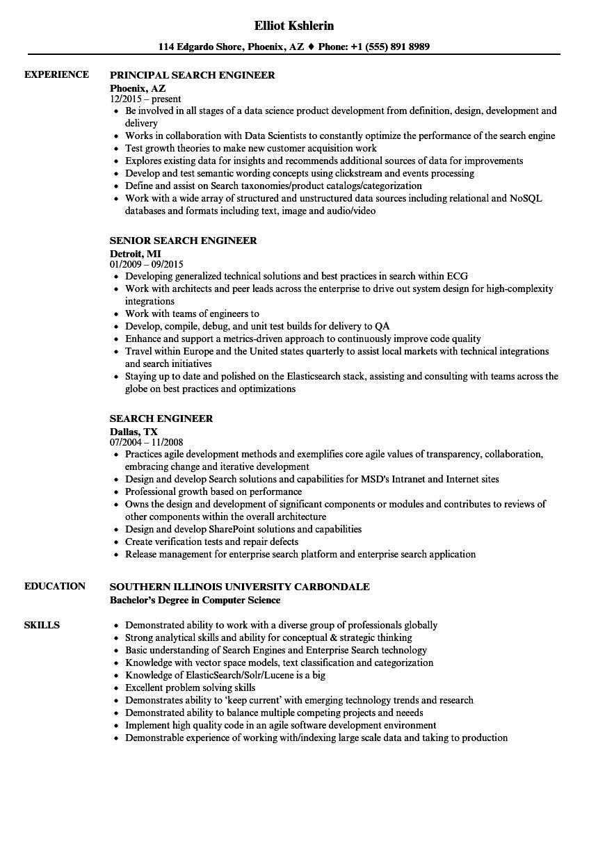 Search Engineer Resume Samples | Velvet Jobs