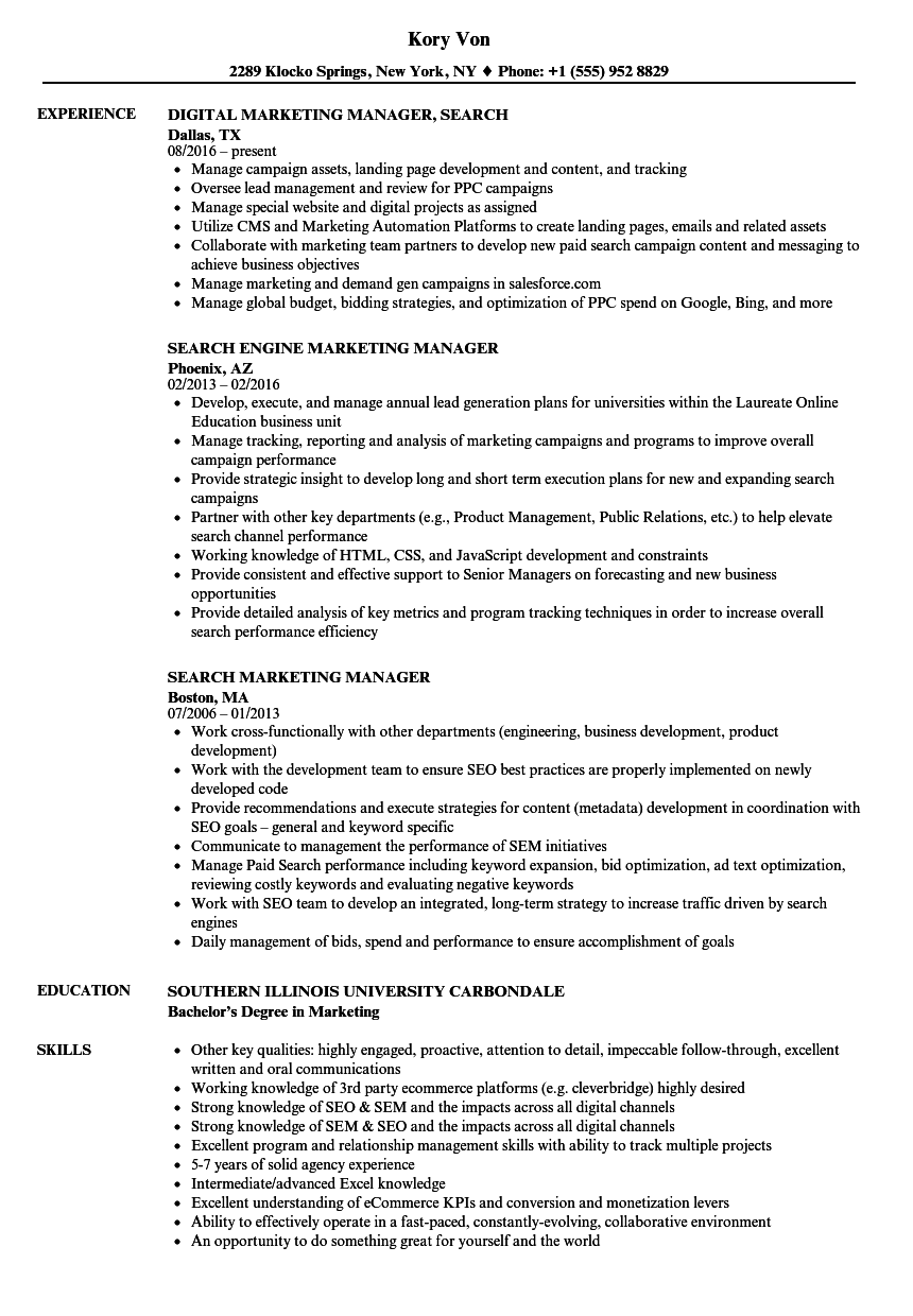 Search Marketing Manager Resume Samples Velvet Jobs