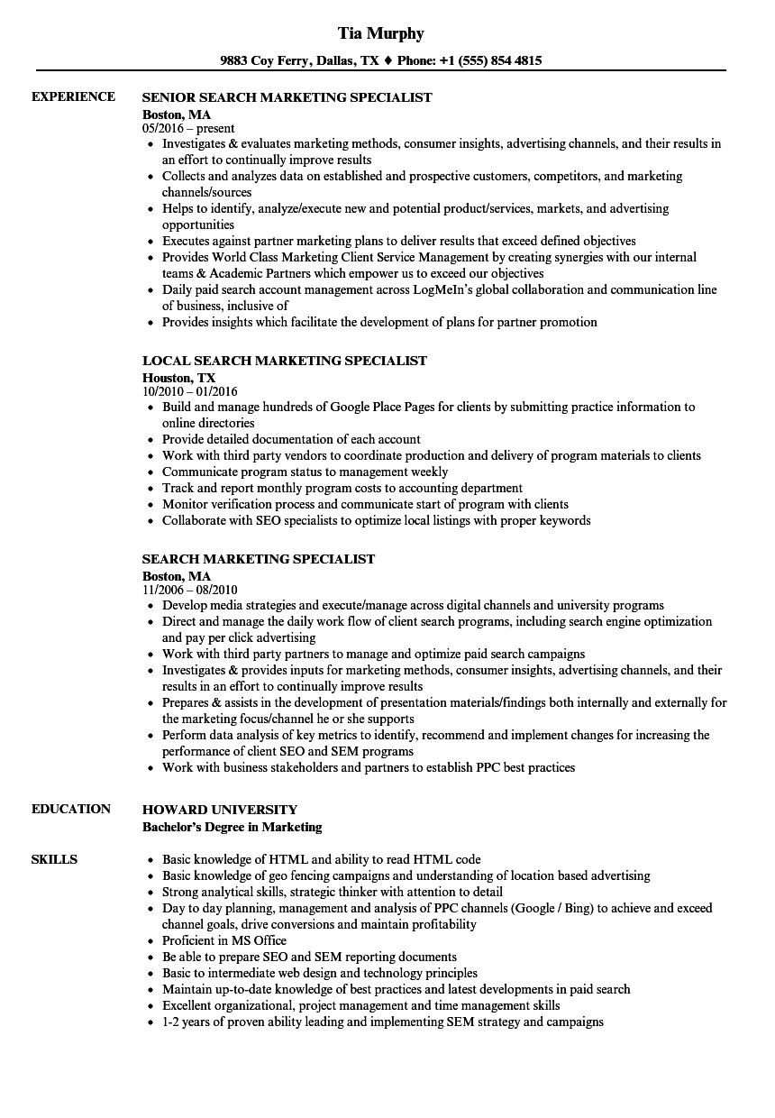 Search Marketing Specialist Resume Samples | Velvet Jobs