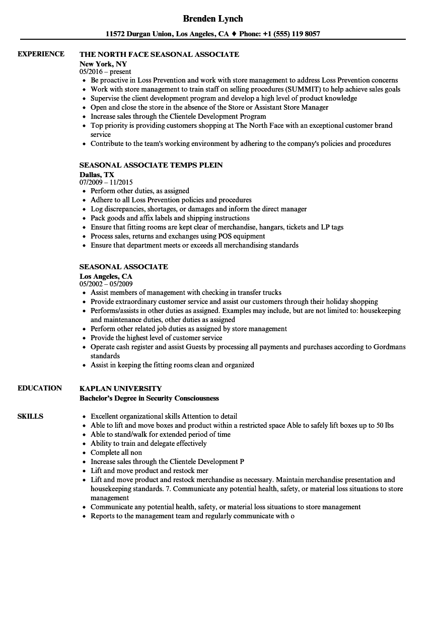 seasonal associate resume samples