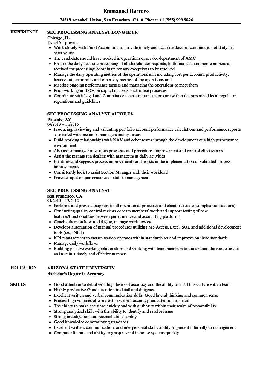 download sec processing analyst resume sample as image file