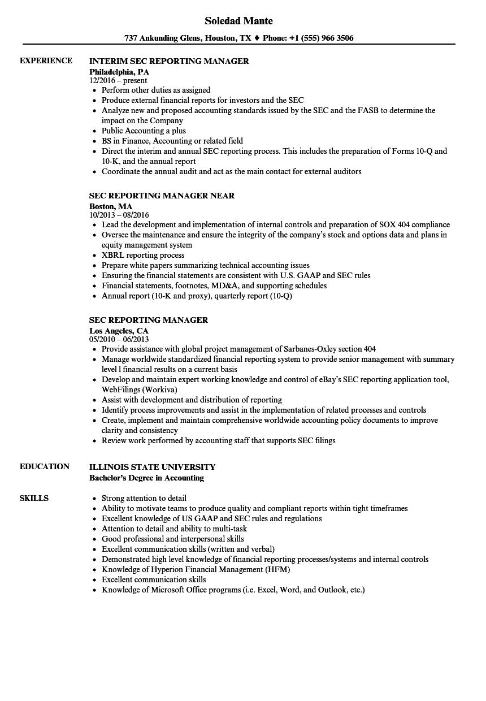 sec reporting manager resume samples