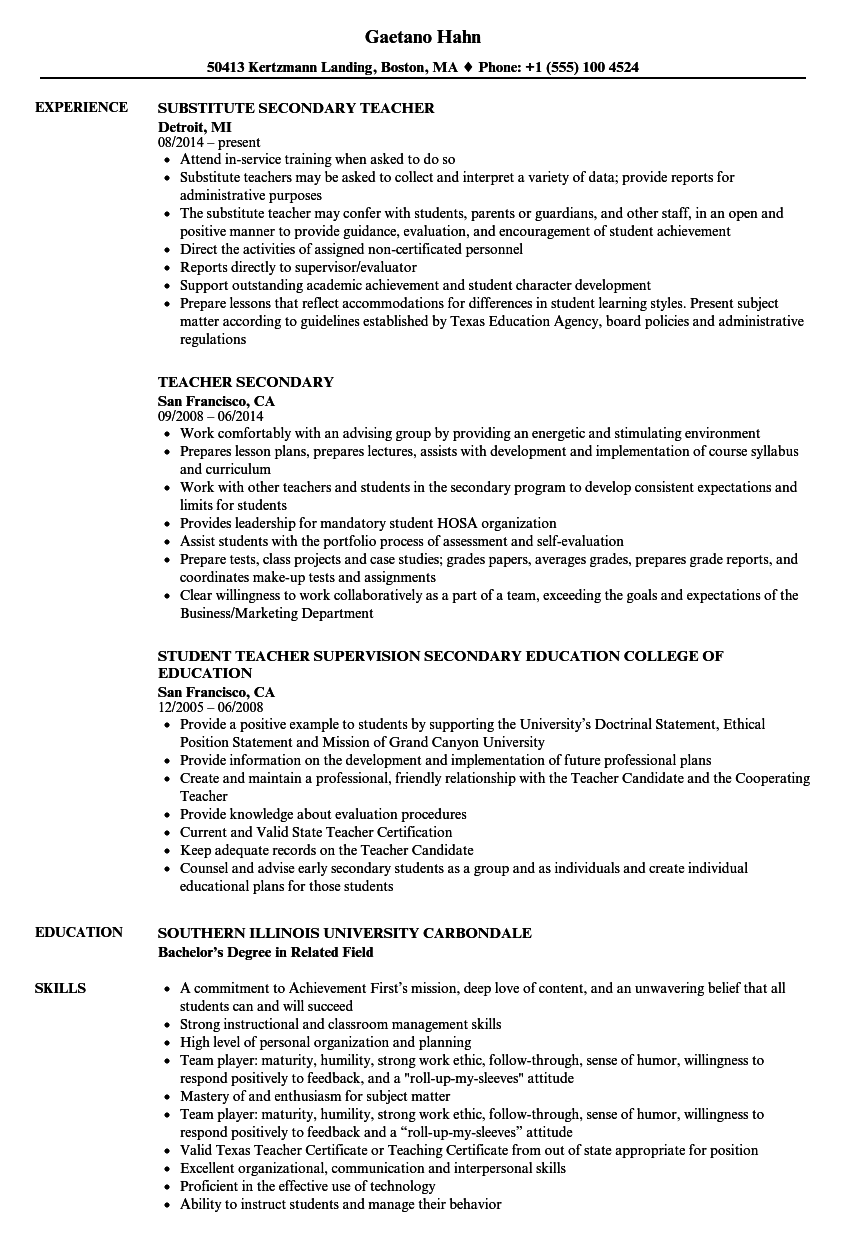 Secondary Teacher Resume Samples Velvet Jobs