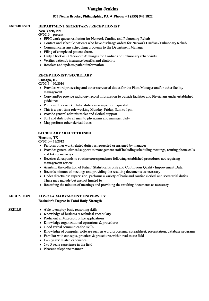 Download Secretary Receptionist Resume Sample As Image File
