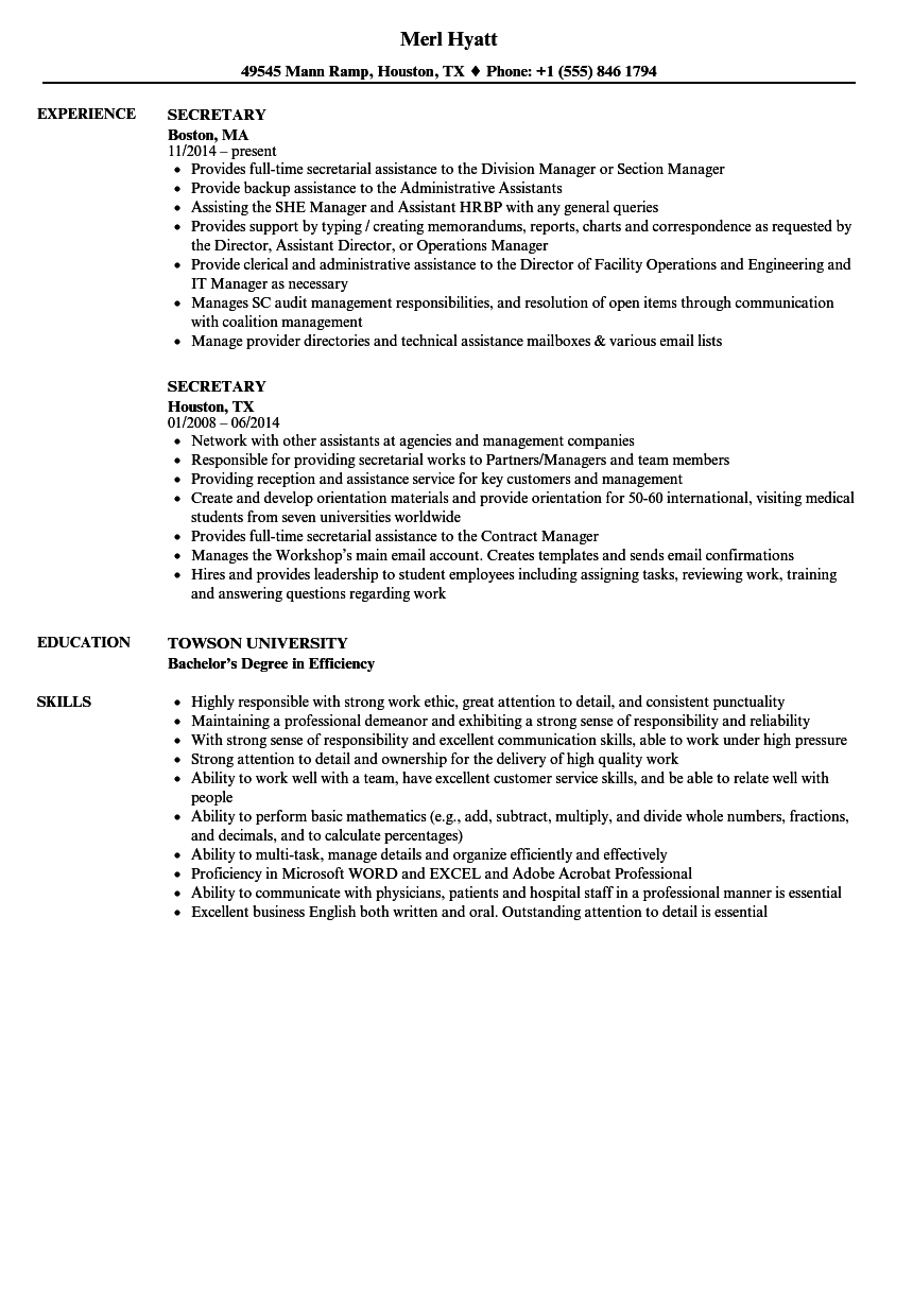 Secretary Resume Samples | Velvet Jobs
