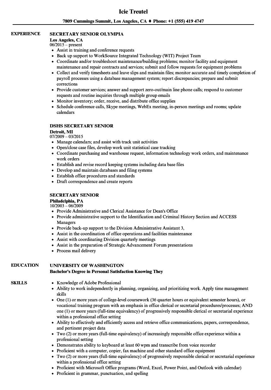 secretary senior resume samples