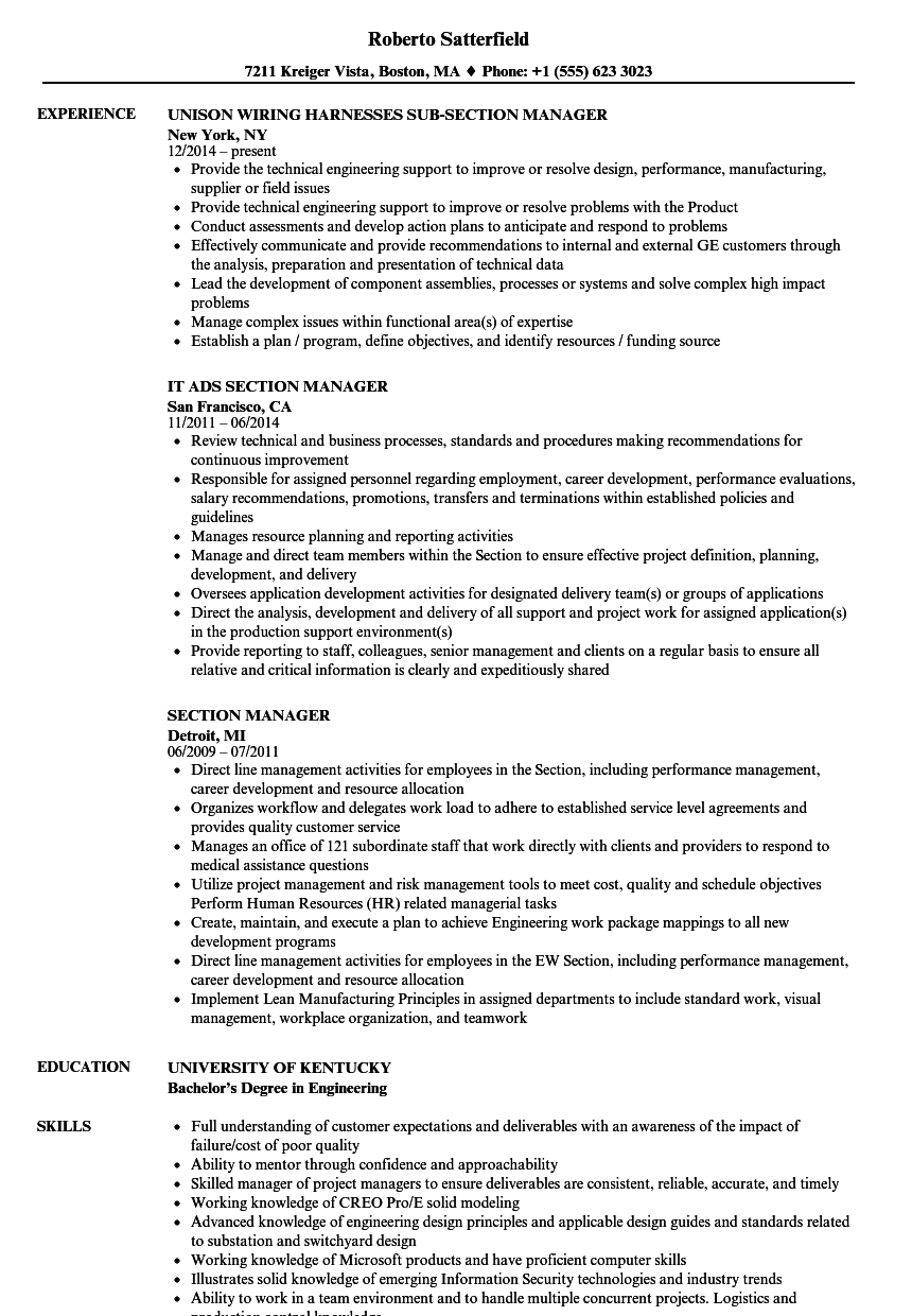 section manager resume samples