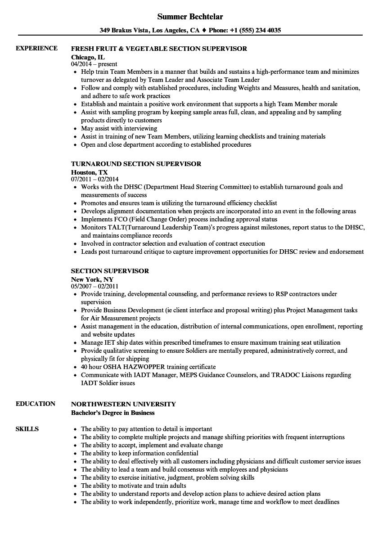 section supervisor resume samples