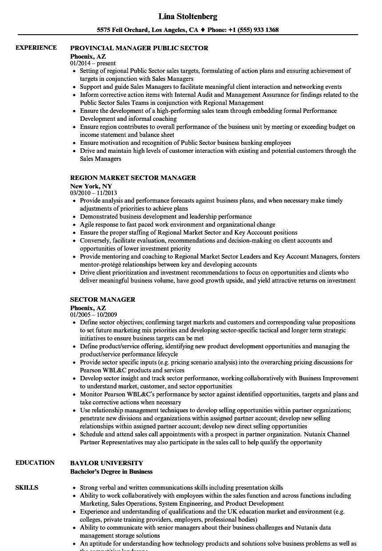 Sector Manager Resume Samples | Velvet Jobs