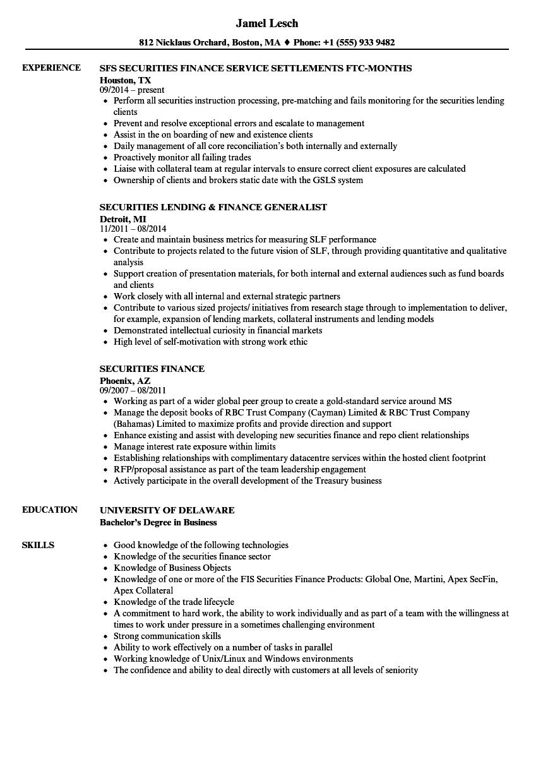 securities finance resume samples