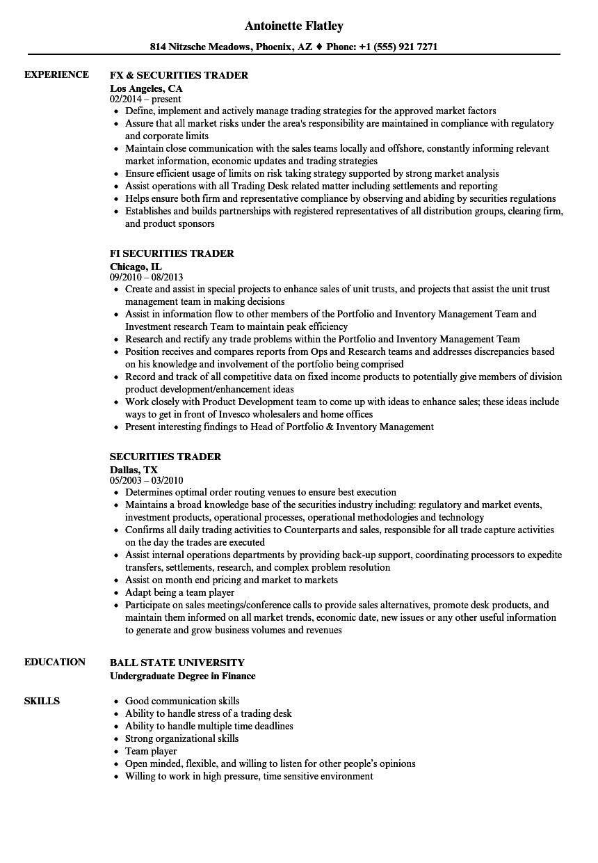 securities trader resume samples