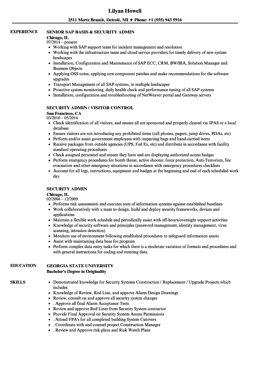 Security Admin Resume Samples Velvet Jobs