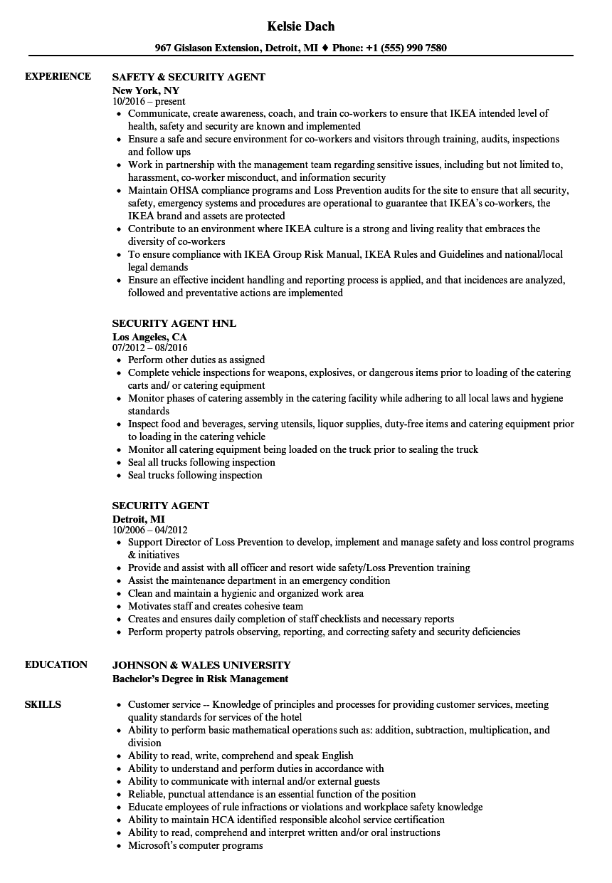 security agent resume samples