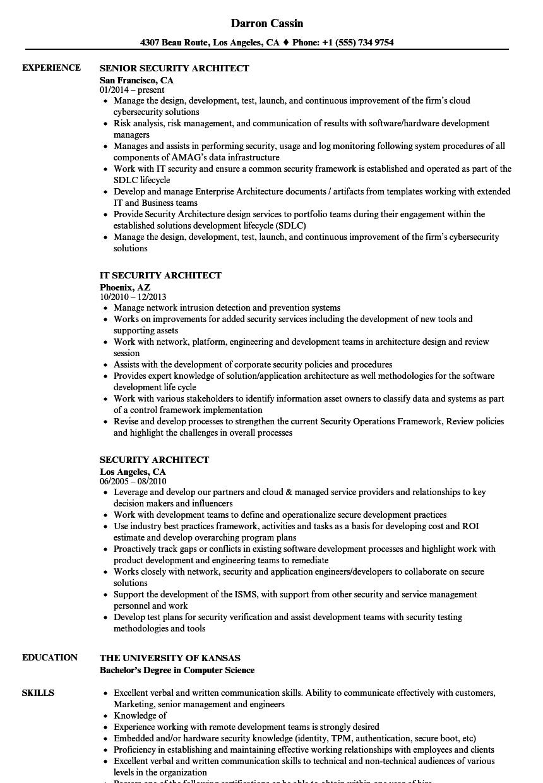 Security Architect Resume Samples | Velvet Jobs