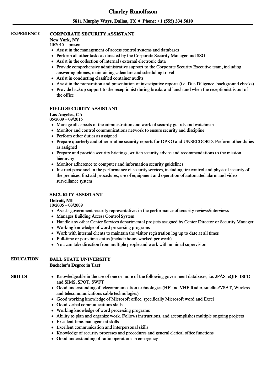 Security Assistant Resume Samples | Velvet Jobs