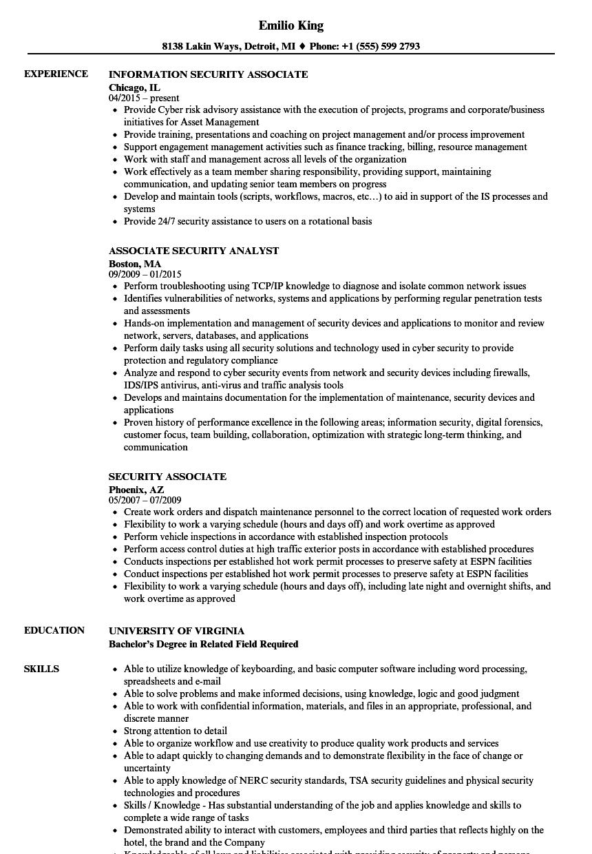 Security Associate Resume Samples   Velvet Jobs