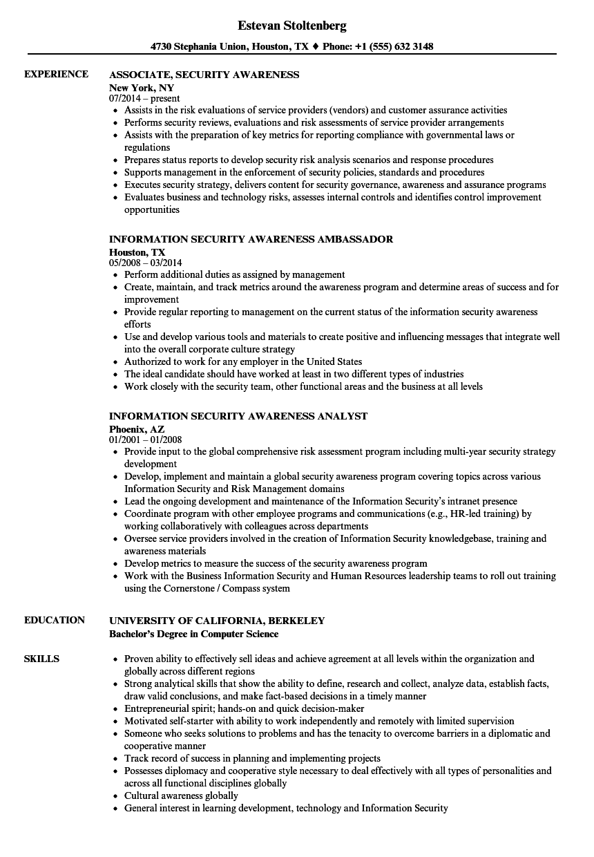 Security Awareness Resume Samples | Velvet Jobs