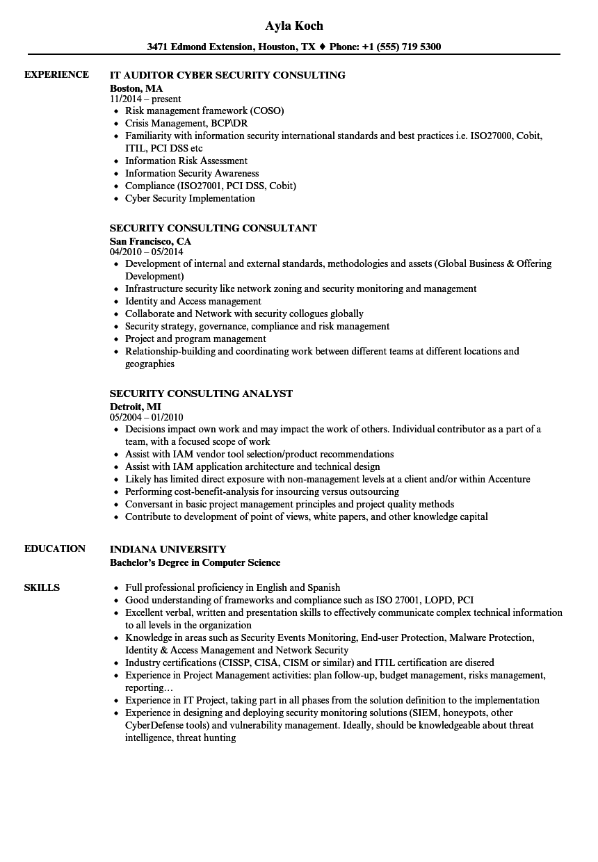 Security Consulting Resume Samples | Velvet Jobs