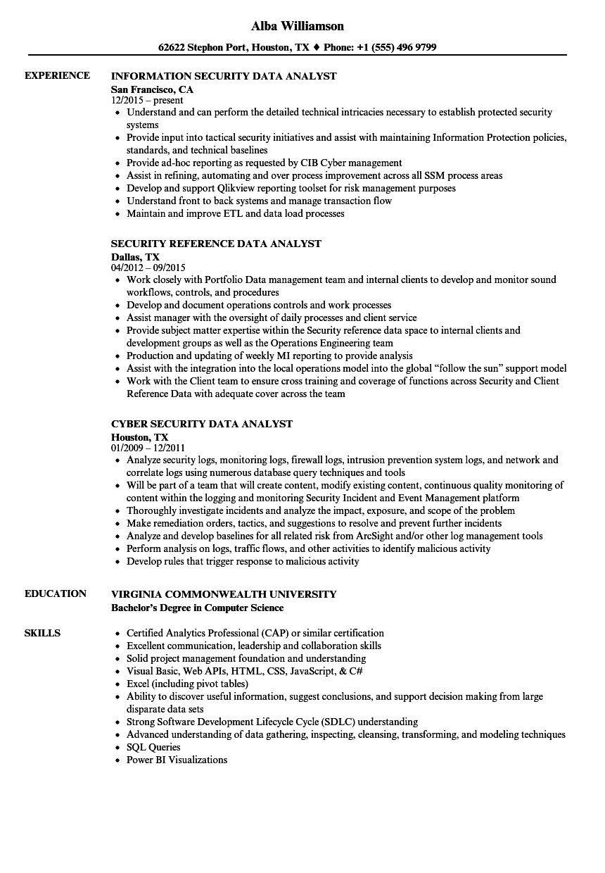 Security Data Analyst Resume Samples Velvet Jobs
