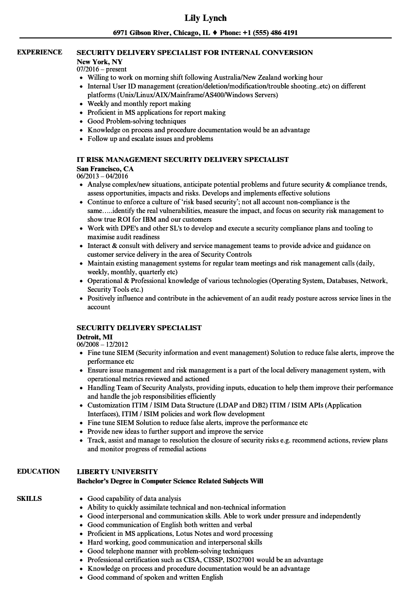 security delivery specialist resume samples